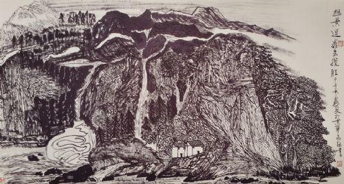 黑白对比强烈,浑厚变化的焦墨墨法,李可染光感山水严谨的画风,傅抱石