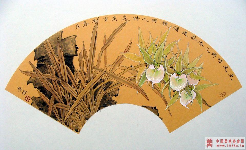 圆形扇子兰花画